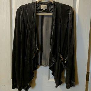 Velour, draped, grey blazer